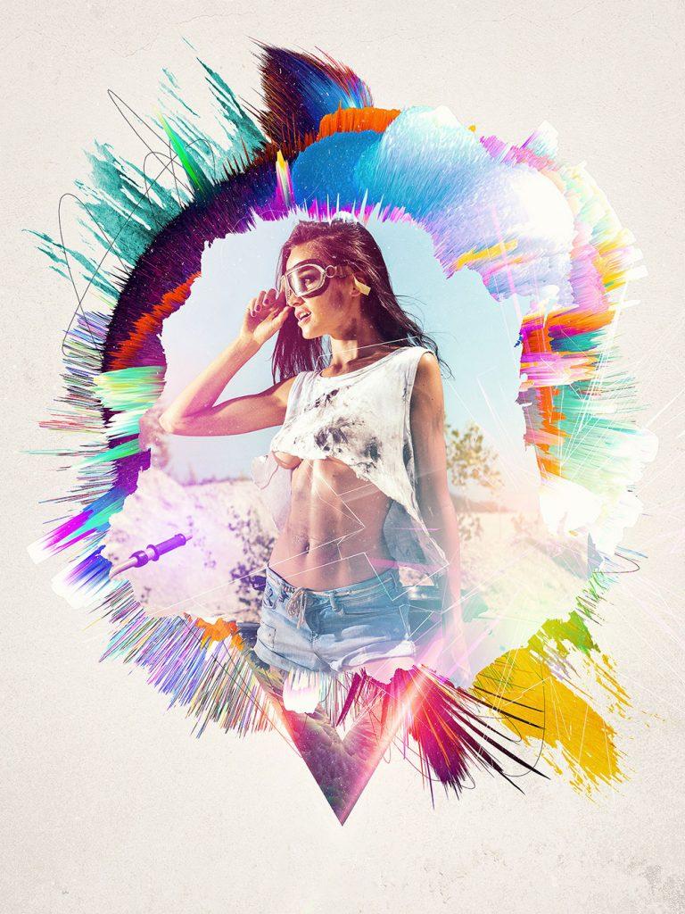 Colorful portrait PSD template